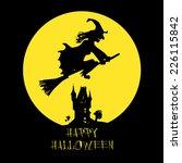 halloween card with dark castle ... | Shutterstock .eps vector #226115842