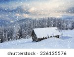 wooden house in the mountains.... | Shutterstock . vector #226135576