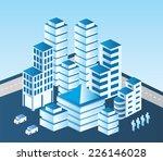 isometric  city in blue tones | Shutterstock . vector #226146028