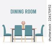 flat design interior dining... | Shutterstock .eps vector #226170952