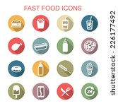 fast food long shadow icons ... | Shutterstock .eps vector #226177492