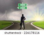 businesswoman standing on the... | Shutterstock . vector #226178116