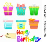vector gift boxes and happy... | Shutterstock .eps vector #22619035