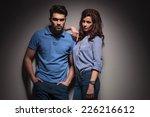 beautiful fashion woman leaning ... | Shutterstock . vector #226216612