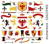 heraldic royal arms set colored ...   Shutterstock .eps vector #226219402