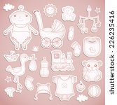 baby shower.  cute paper labels. | Shutterstock .eps vector #226235416