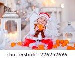 little baby dressed as santa... | Shutterstock . vector #226252696