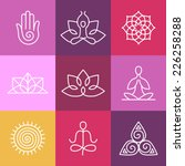 vector yoga icons and round... | Shutterstock .eps vector #226258288