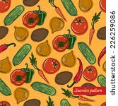 vector seamless vegetables... | Shutterstock .eps vector #226259086