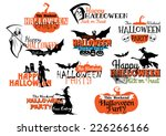 large set of happy halloween... | Shutterstock .eps vector #226266166