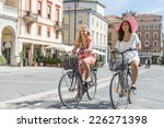 happy young women on their... | Shutterstock . vector #226271398