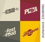 set of unique fast food logo... | Shutterstock .eps vector #226280482