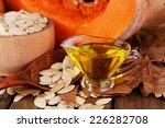 pumpkin seed oil in glass sauce ... | Shutterstock . vector #226282708