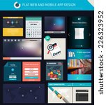 set of flat ui ux elements for...