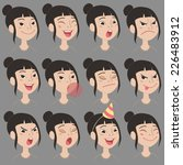 set of cartoon cute asian girl... | Shutterstock .eps vector #226483912