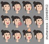 Set Of Cartoon Cute Asian Girl...