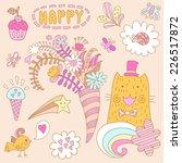 set with a cat  bird ... | Shutterstock .eps vector #226517872