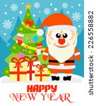 happy new year card with funny... | Shutterstock .eps vector #226558882