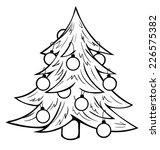 Contour Christmas Tree On White ...