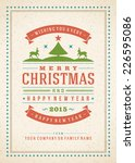 christmas retro typography and... | Shutterstock .eps vector #226595086