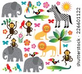 jungle animal clip art | Shutterstock .eps vector #226601122