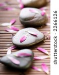 spa stones with flower petals - stock photo