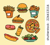 vector set of colorful cartoon... | Shutterstock .eps vector #226613116
