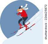 woman alpine skiing