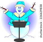 Snowman Conductor With A Music...
