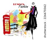 fashion girl in sketch style.... | Shutterstock .eps vector #226670362