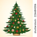 christmas tree card  poster ... | Shutterstock .eps vector #226684306