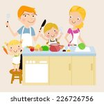 family cooking | Shutterstock .eps vector #226726756