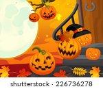 cartoon halloween scene with... | Shutterstock . vector #226736278