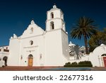 Mission San Luis Rey de Francia, also known as San Luis Rey Mission Church, was founded on June 13, 1798 in what is now the town of Oceanside, California. - stock photo