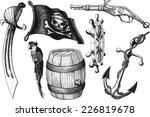 set pirate attributes. armament ... | Shutterstock .eps vector #226819678