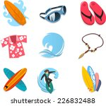 surfer icon set  with surf... | Shutterstock .eps vector #226832488