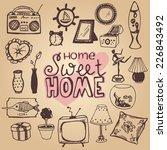 set of home interior doodles | Shutterstock .eps vector #226843492
