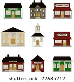 Town Buildings including school, train station, town hall and more. - stock vector