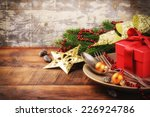 christmas table setting in gold ... | Shutterstock . vector #226924786