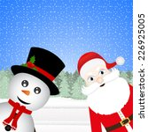 snowman and santa claus in a... | Shutterstock . vector #226925005