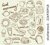 Breakfast Food And Icons Doodl...