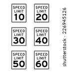 speed limit sign set   vector | Shutterstock .eps vector #226945126