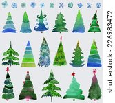 christmas trees  and snowflake  ... | Shutterstock .eps vector #226983472
