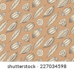 engraved pattern of leaves and... | Shutterstock .eps vector #227034598