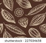 engraved pattern of leaves and... | Shutterstock .eps vector #227034658