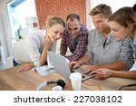 roommates studying together at... | Shutterstock . vector #227038102