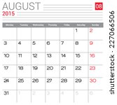 august 2015 calendar vector... | Shutterstock .eps vector #227066506