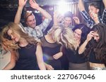 stylish friends dancing and... | Shutterstock . vector #227067046