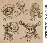 pirates   skulls collection.... | Shutterstock .eps vector #227071888