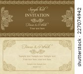 baroque invitation card in old... | Shutterstock .eps vector #227074942